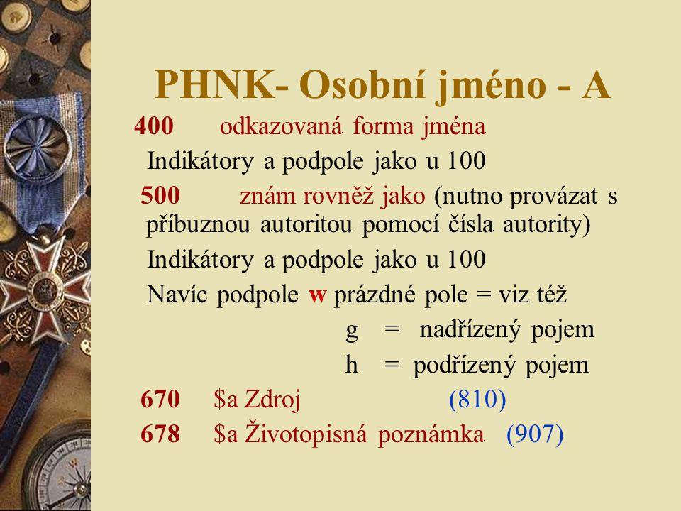 PHNK- Osobní jméno - A 400 odkazovaná forma jména