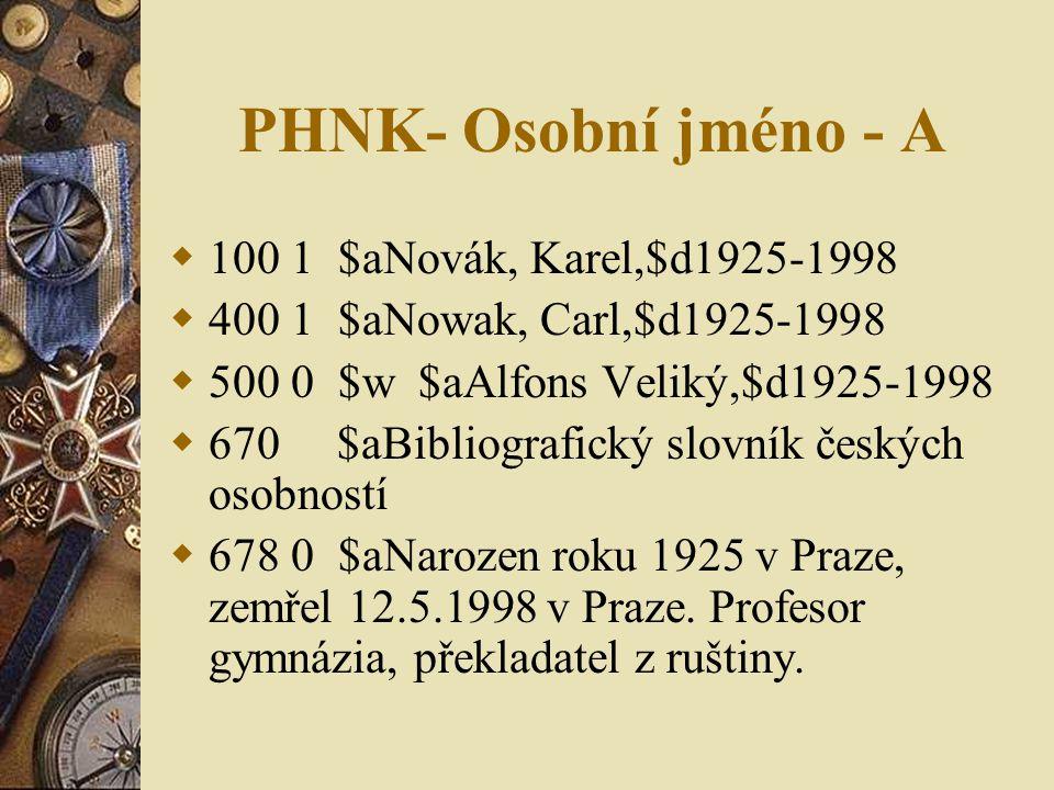 PHNK- Osobní jméno - A 100 1 $aNovák, Karel,$d1925-1998