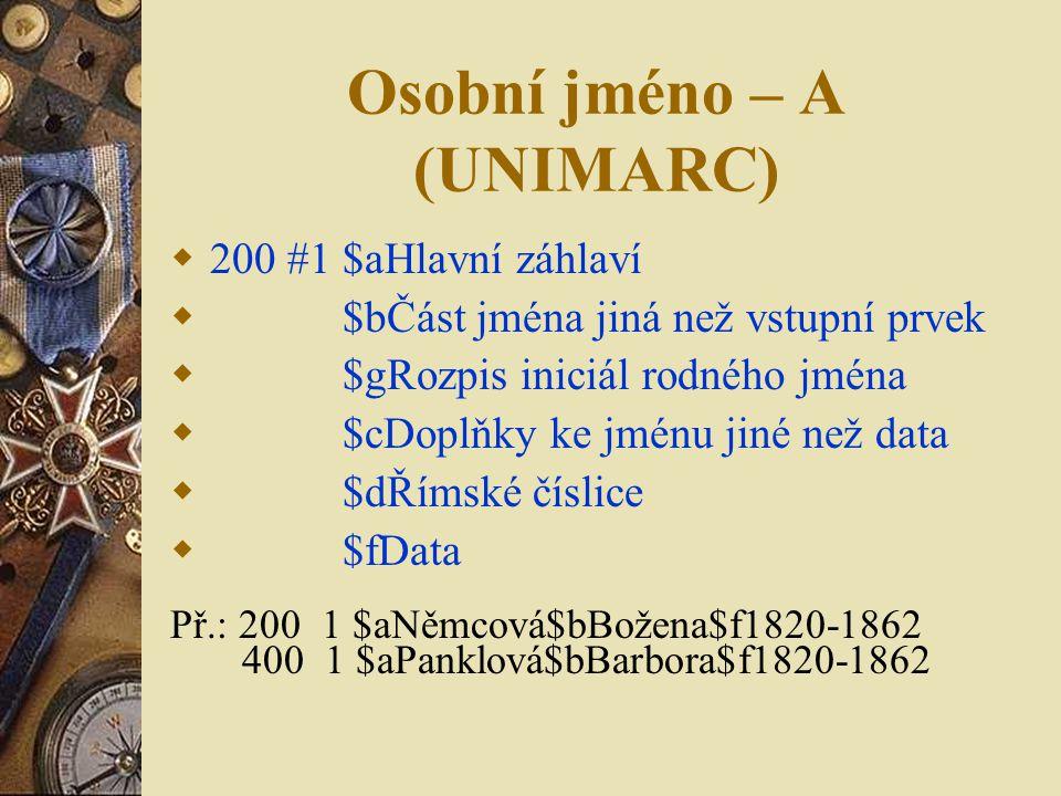 Osobní jméno – A (UNIMARC)