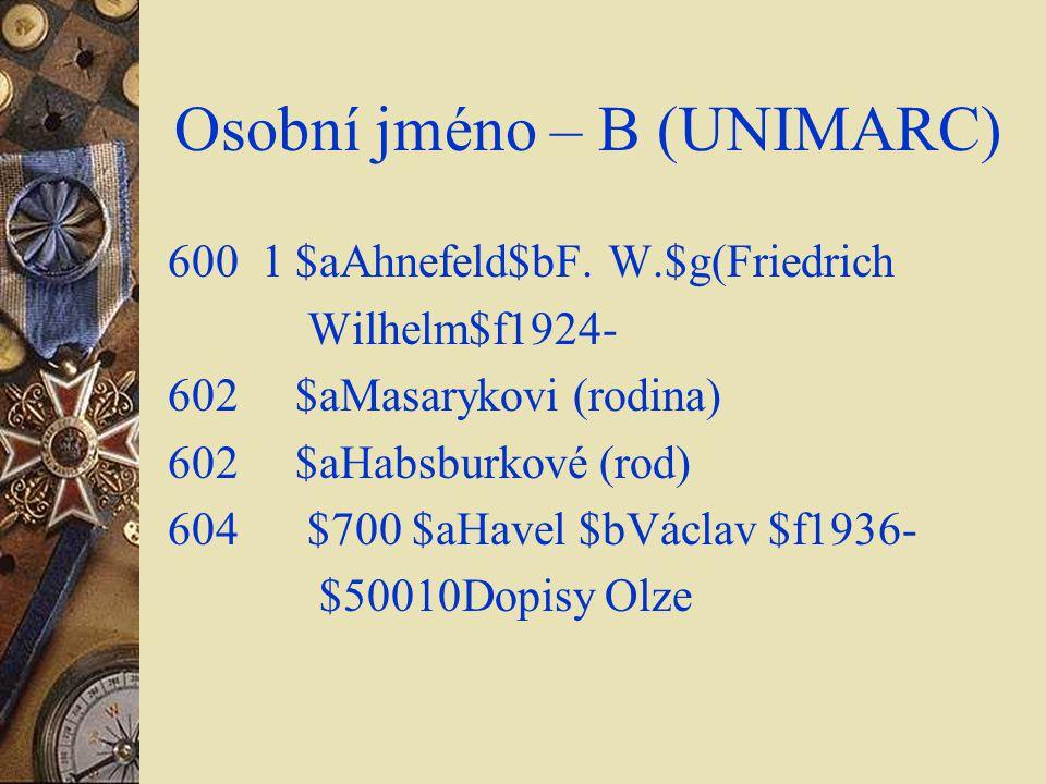 Osobní jméno – B (UNIMARC)