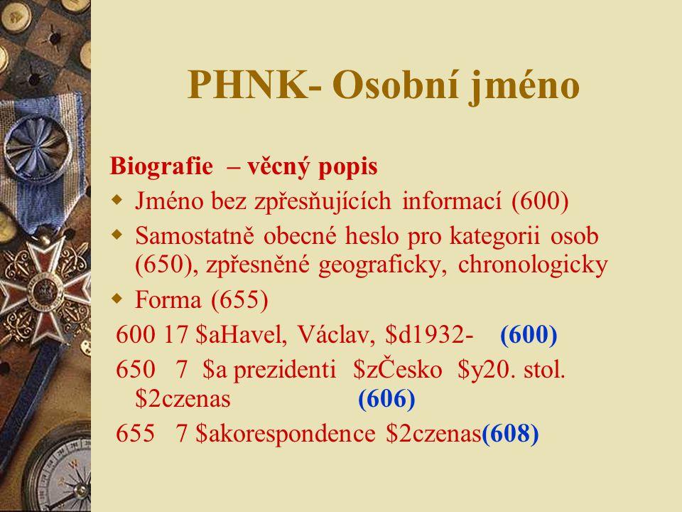 PHNK- Osobní jméno Biografie – věcný popis
