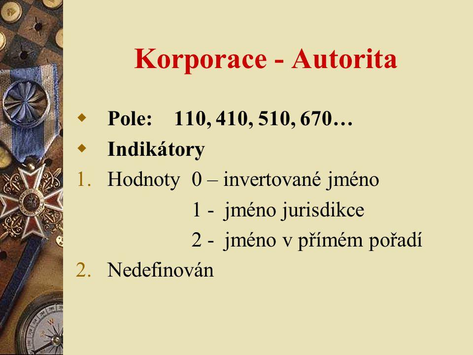 Korporace - Autorita Pole: 110, 410, 510, 670… Indikátory