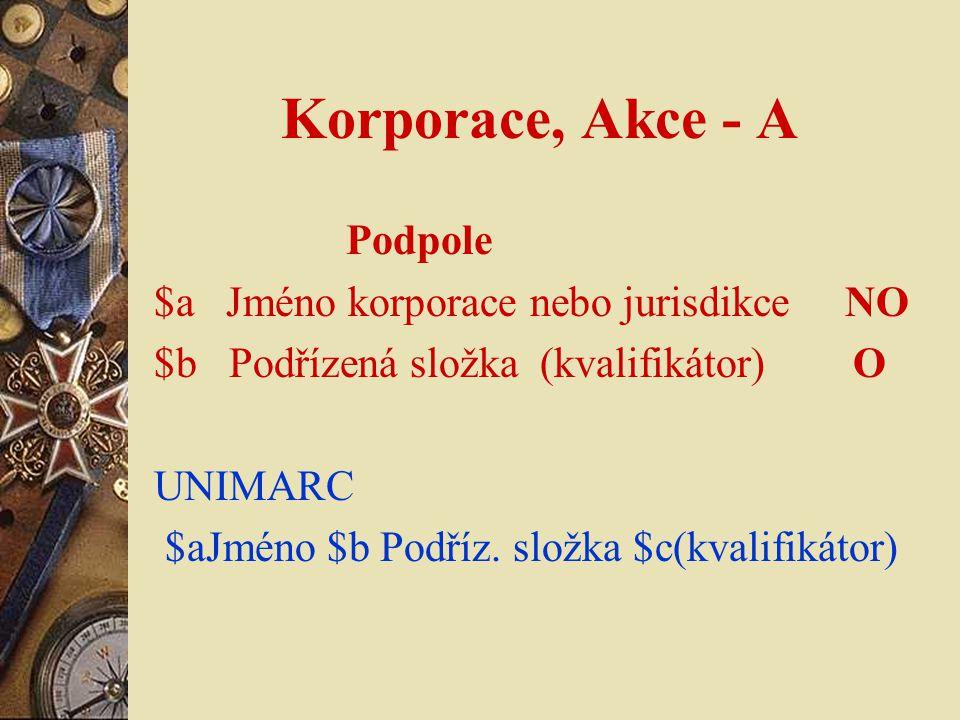 Korporace, Akce - A Podpole $a Jméno korporace nebo jurisdikce NO