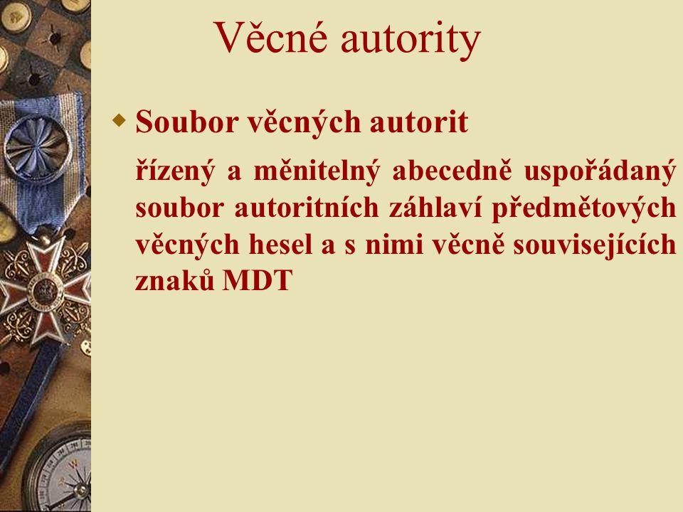 Věcné autority Soubor věcných autorit