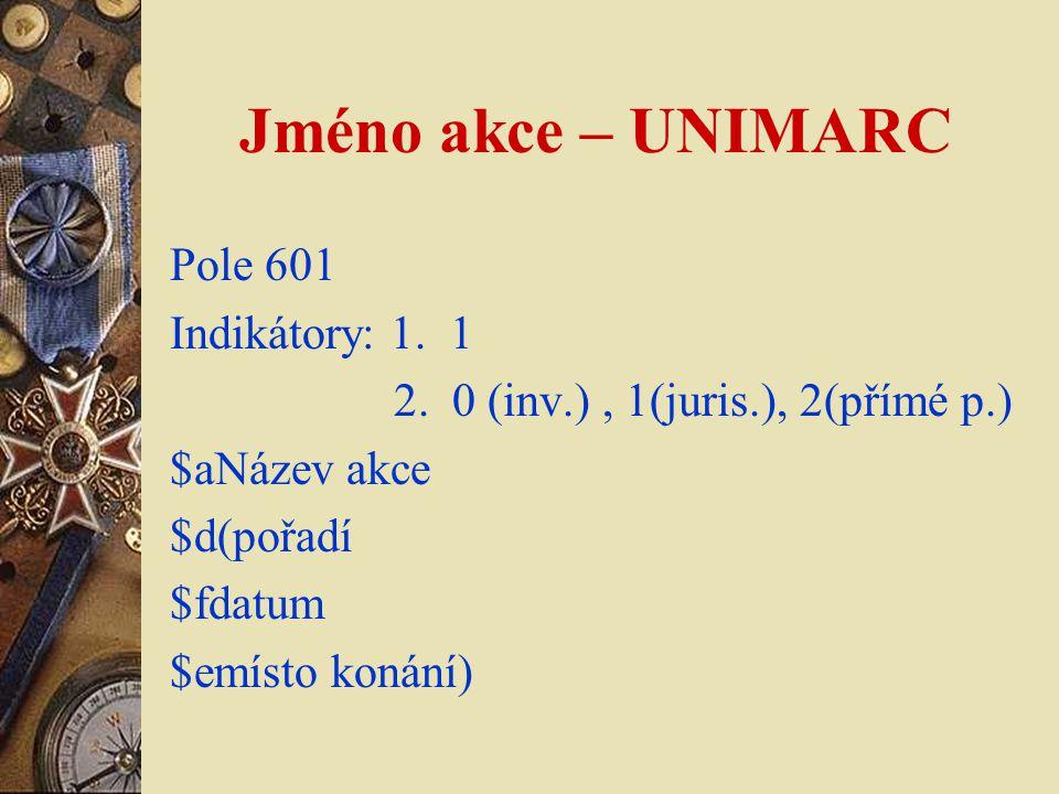 Jméno akce – UNIMARC Pole 601 Indikátory: 1. 1