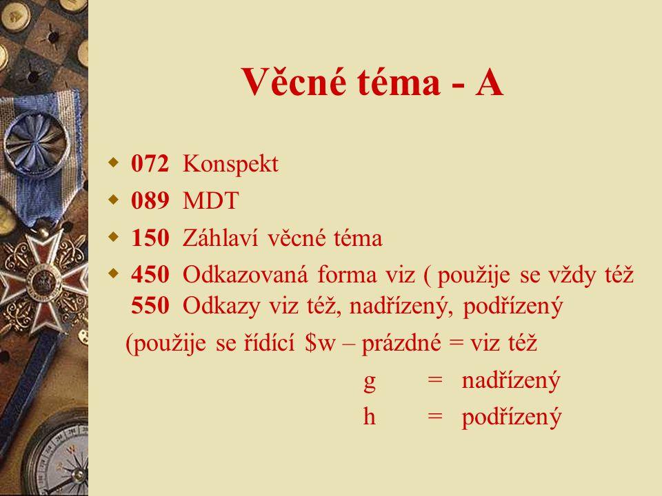 Věcné téma - A 072 Konspekt 089 MDT 150 Záhlaví věcné téma
