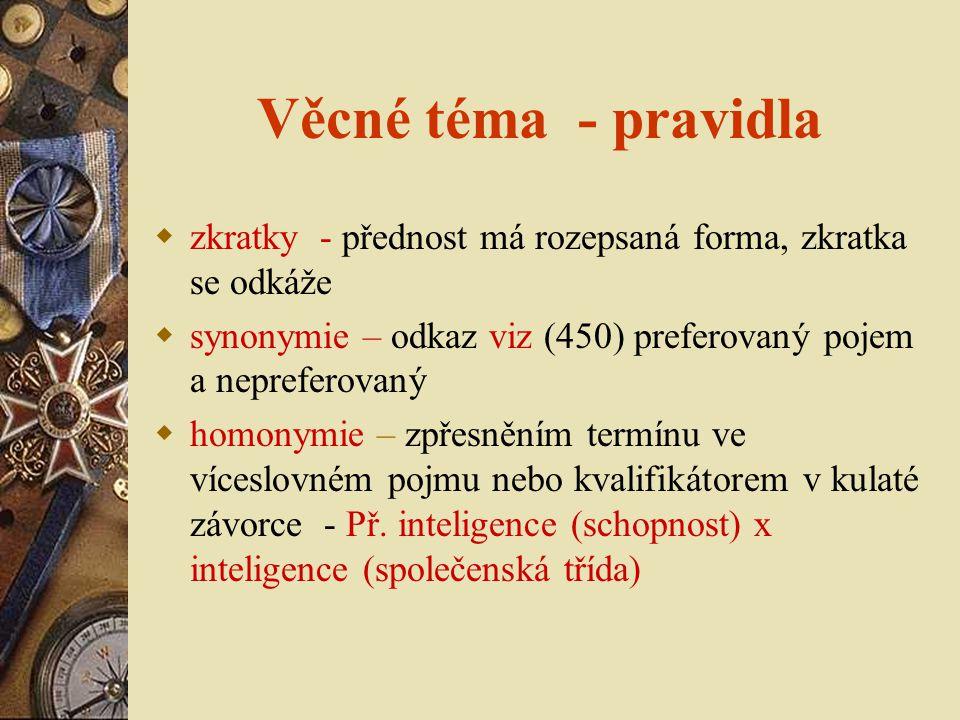 Věcné téma - pravidla zkratky - přednost má rozepsaná forma, zkratka se odkáže. synonymie – odkaz viz (450) preferovaný pojem a nepreferovaný.