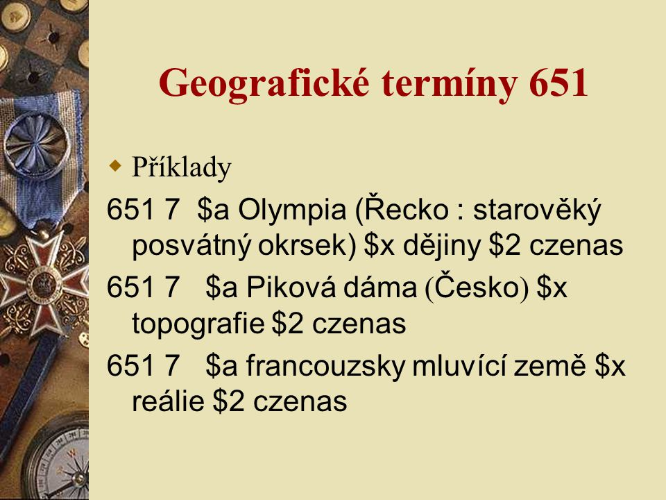 Geografické termíny 651 Příklady