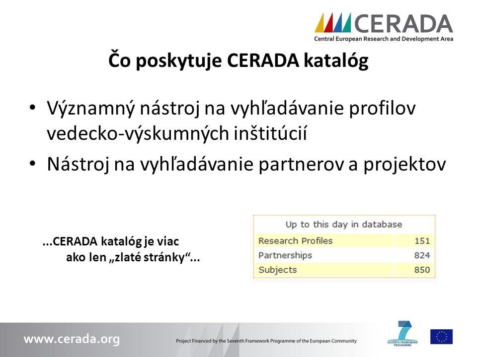 Čo poskytuje CERADA katalóg