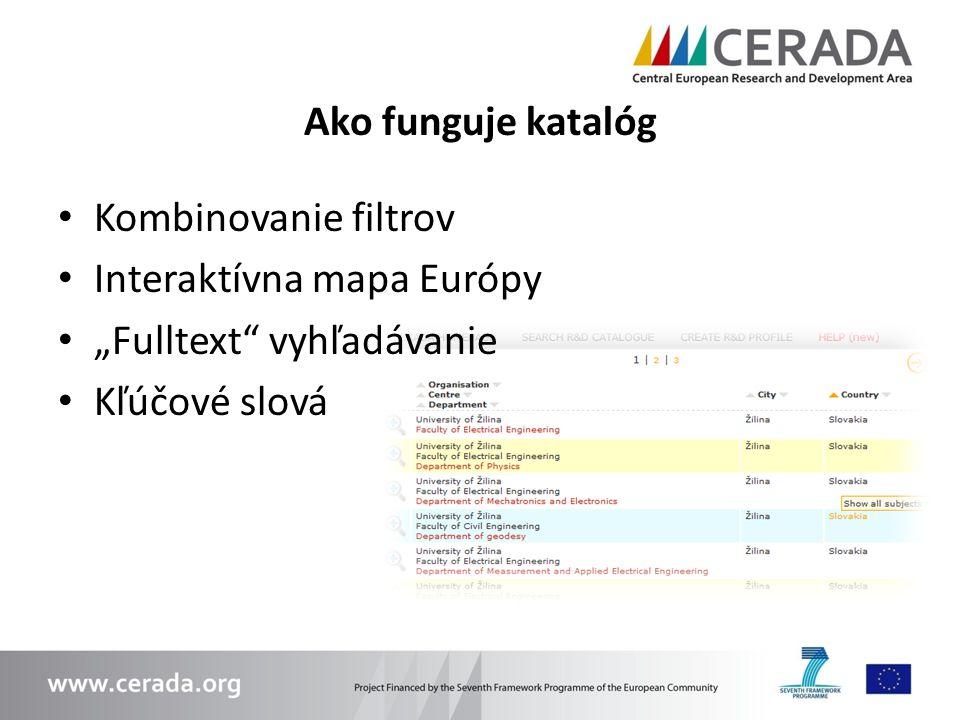 Ako funguje katalóg Kombinovanie filtrov. Interaktívna mapa Európy.