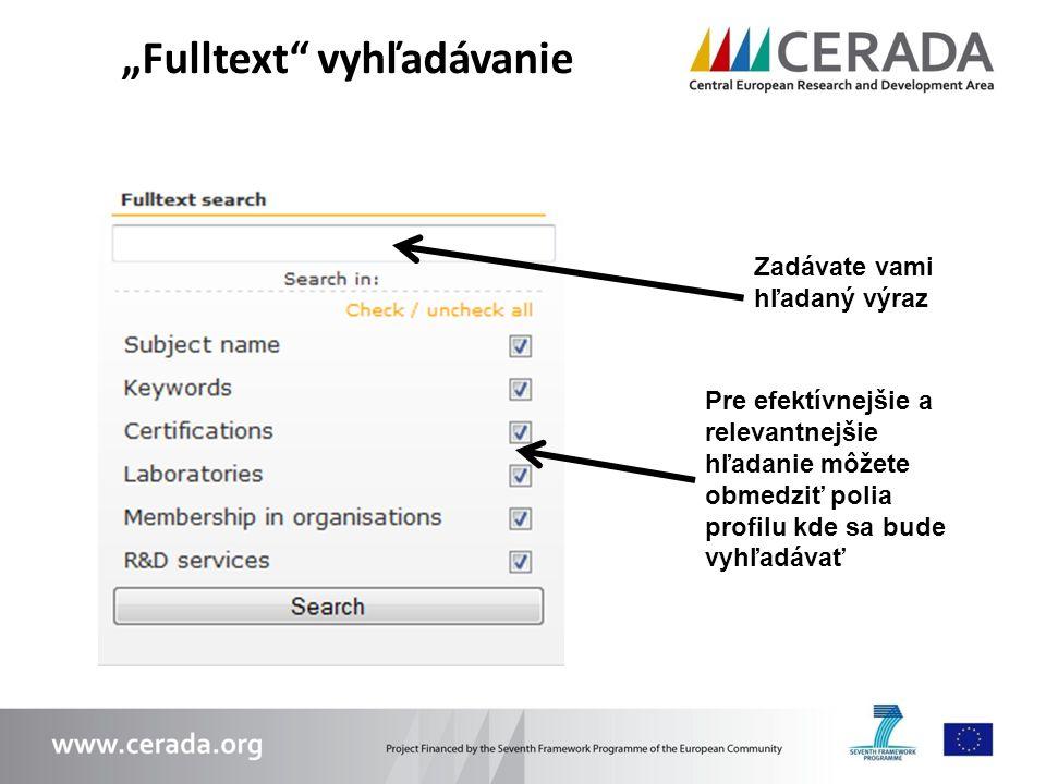 """""""Fulltext vyhľadávanie"""