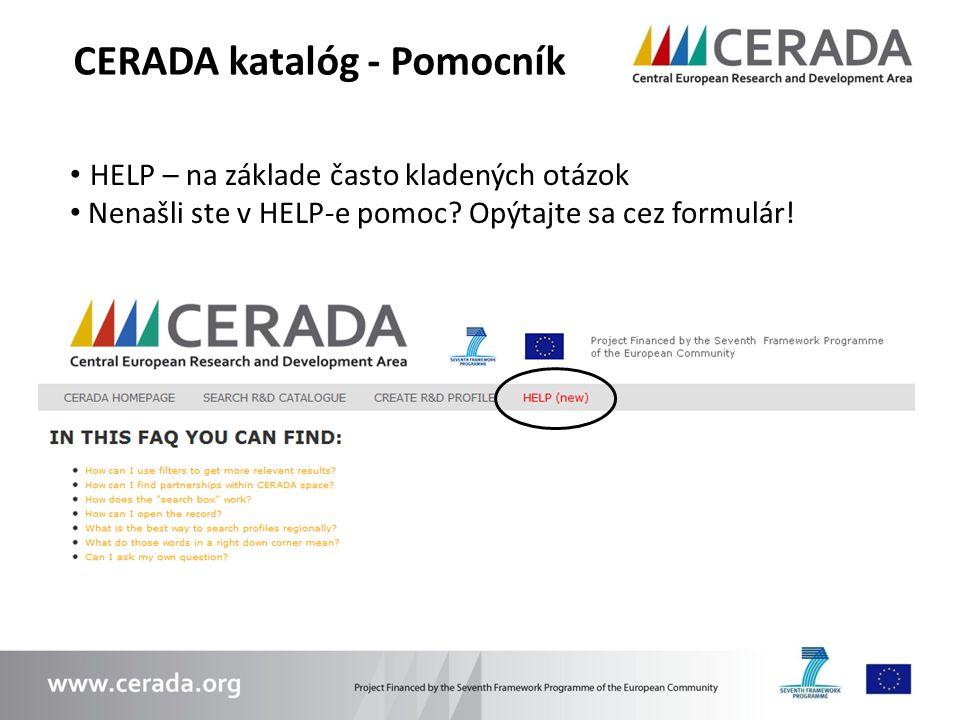 CERADA katalóg - Pomocník