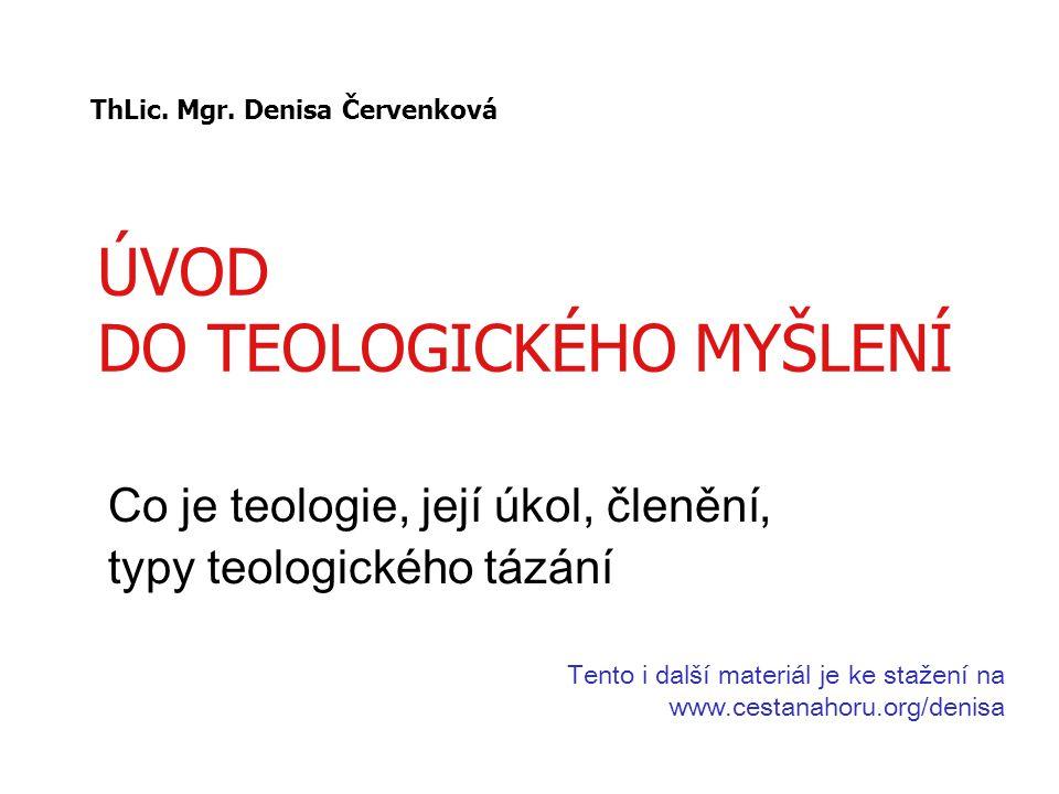 ÚVOD DO TEOLOGICKÉHO MYŠLENÍ