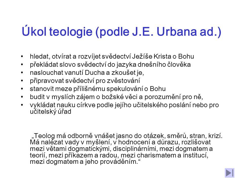Úkol teologie (podle J.E. Urbana ad.)