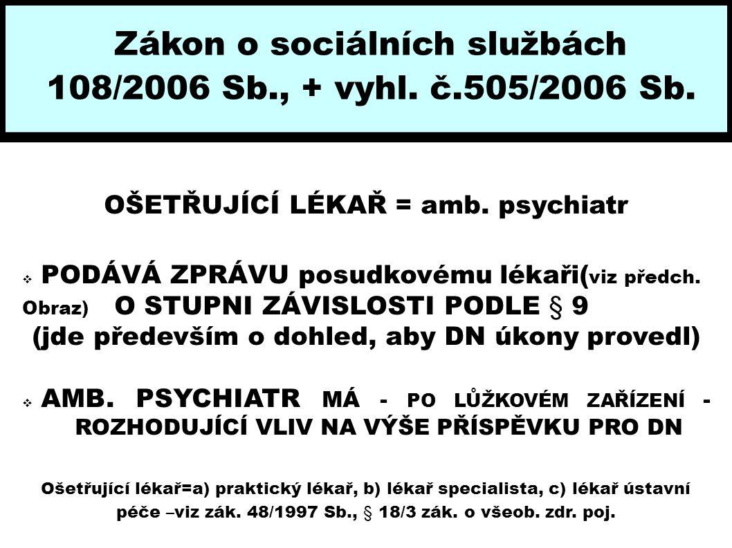 108/2006 Sb., + vyhl. č.505/2006 Sb. OŠETŘUJÍCÍ LÉKAŘ = amb. psychiatr