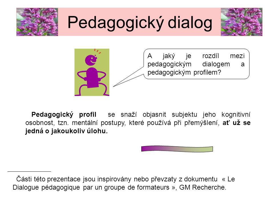 Pedagogický dialog A jaký je rozdíl mezi pedagogickým dialogem a pedagogickým profilem