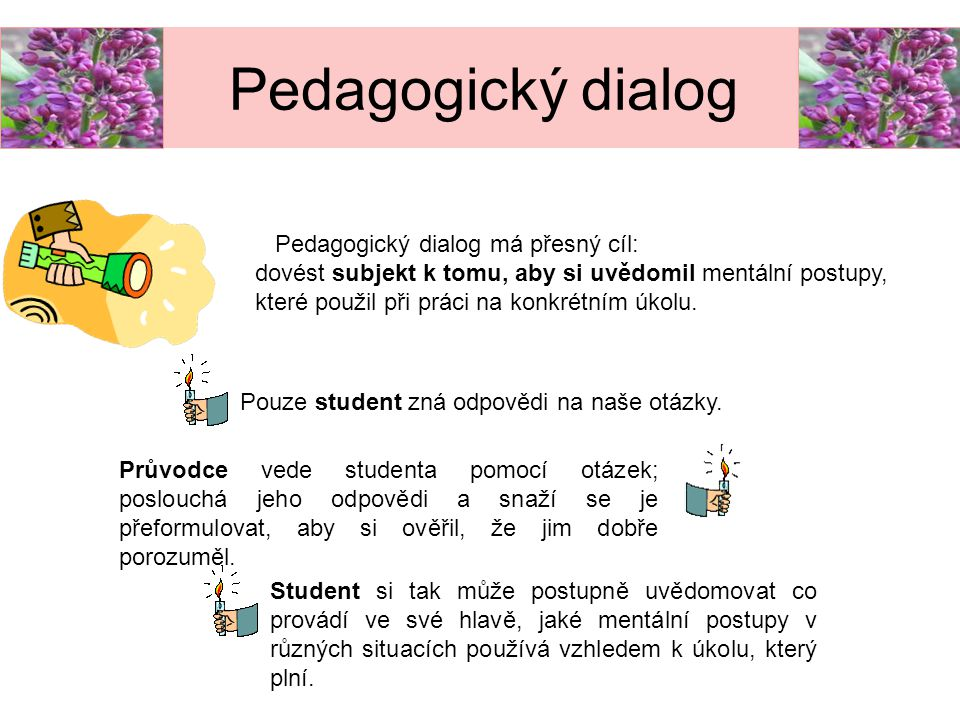 Pedagogický dialog Pedagogický dialog má přesný cíl: