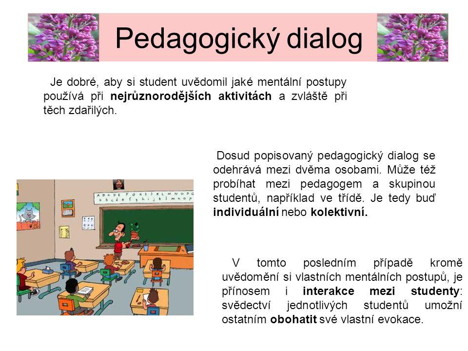 Pedagogický dialog Je dobré, aby si student uvědomil jaké mentální postupy používá při nejrůznorodějších aktivitách a zvláště při těch zdařilých.