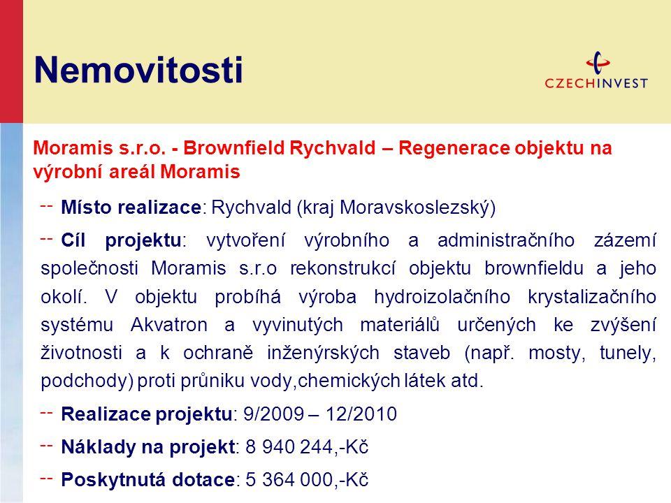 Nemovitosti Moramis s.r.o. - Brownfield Rychvald – Regenerace objektu na výrobní areál Moramis. Místo realizace: Rychvald (kraj Moravskoslezský)