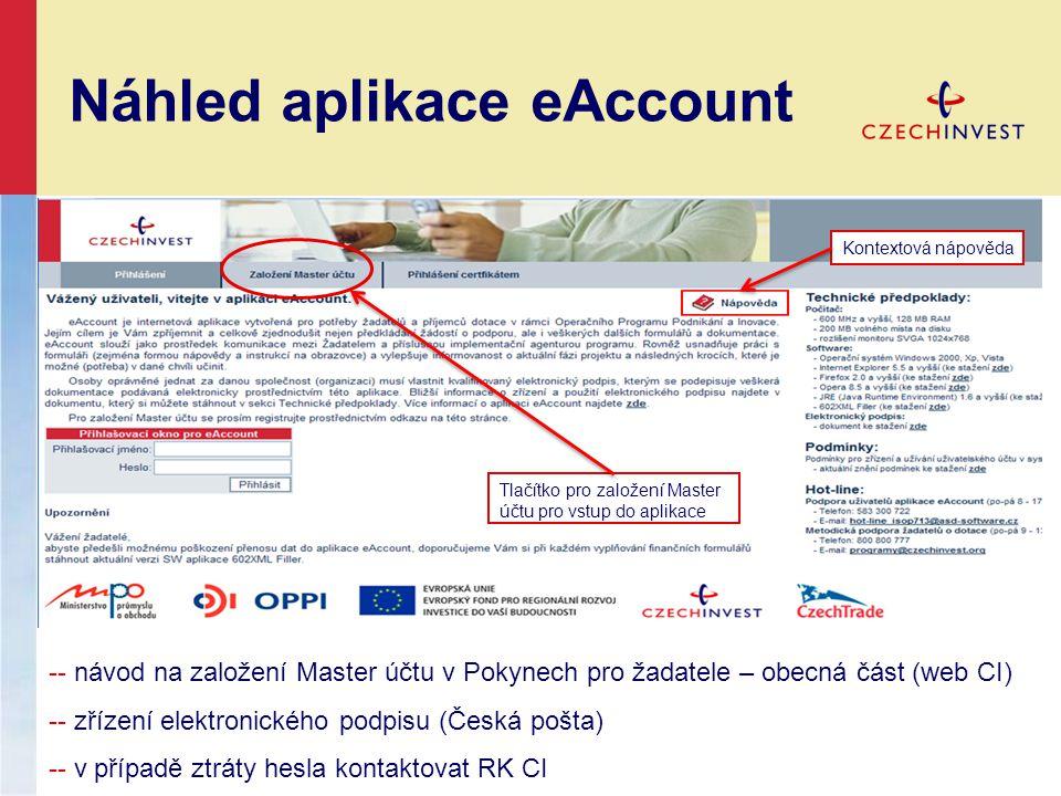 Náhled aplikace eAccount