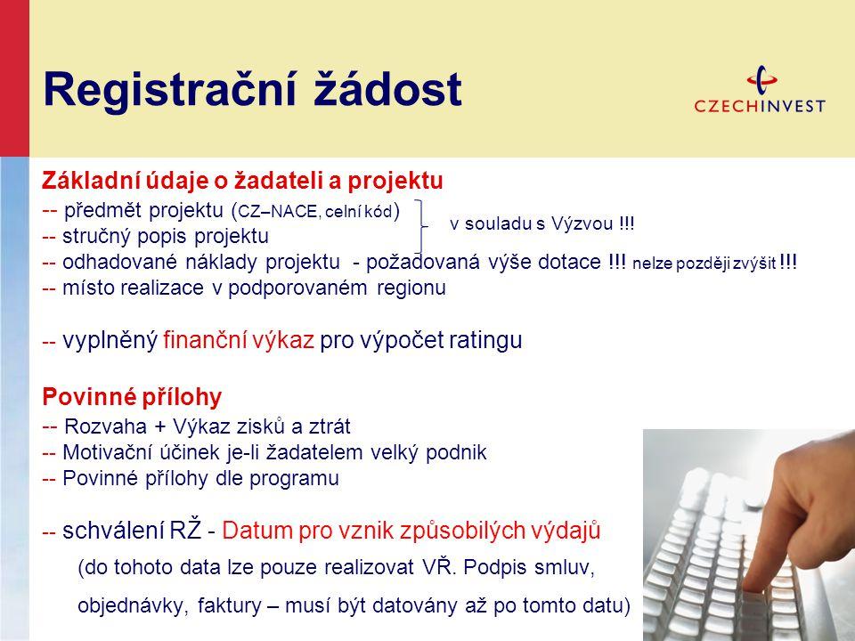 Registrační žádost Základní údaje o žadateli a projektu