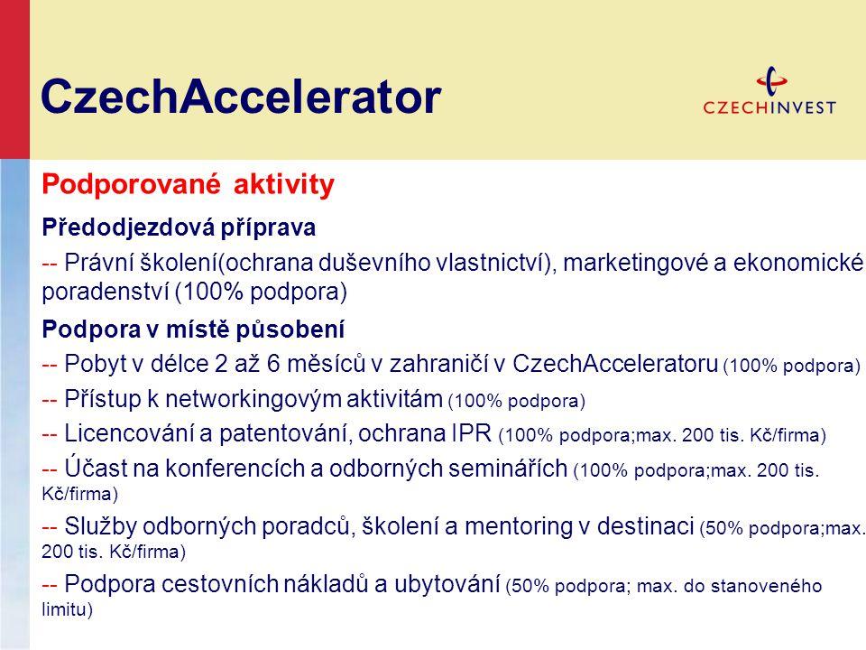 CzechAccelerator Podporované aktivity Předodjezdová příprava