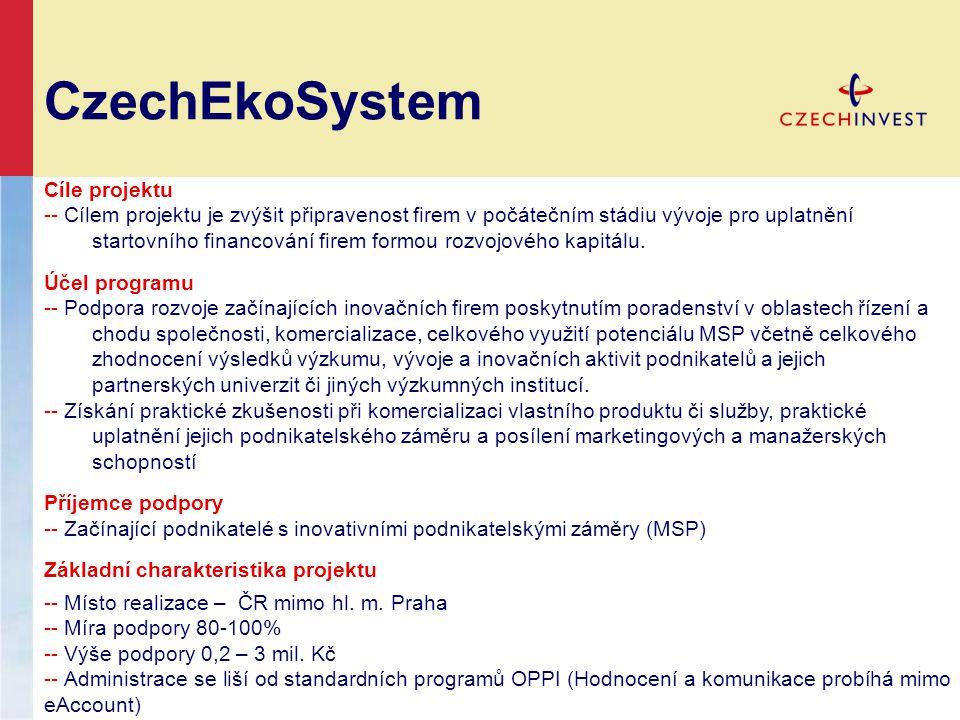 CzechEkoSystem Cíle projektu