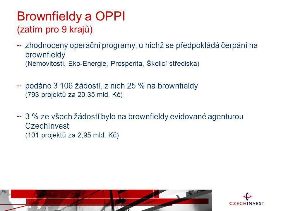 Brownfieldy a OPPI (zatím pro 9 krajů)