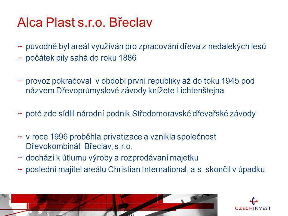 Alca Plast s.r.o. Břeclav původně byl areál využíván pro zpracování dřeva z nedalekých lesů. počátek pily sahá do roku 1886.