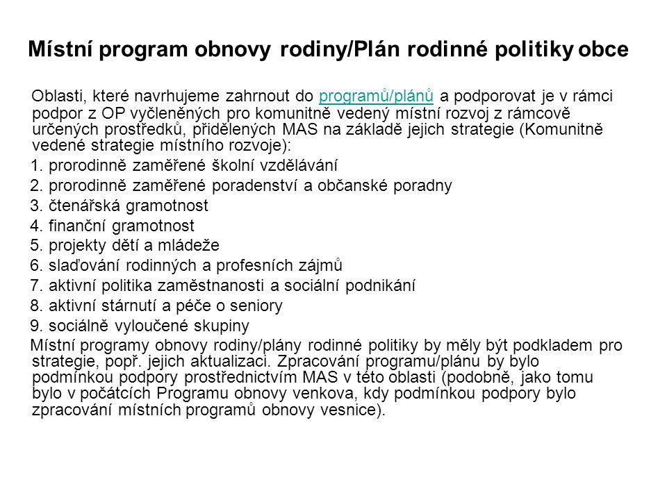 Místní program obnovy rodiny/Plán rodinné politiky obce
