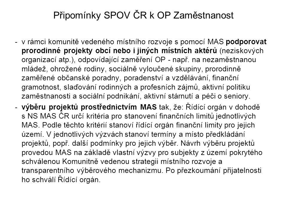 Připomínky SPOV ČR k OP Zaměstnanost