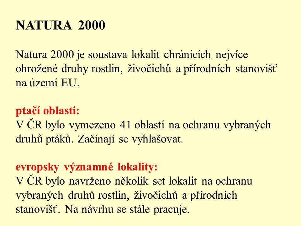 NATURA 2000 Natura 2000 je soustava lokalit chránících nejvíce