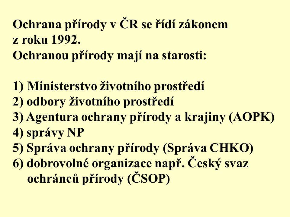 Ochrana přírody v ČR se řídí zákonem