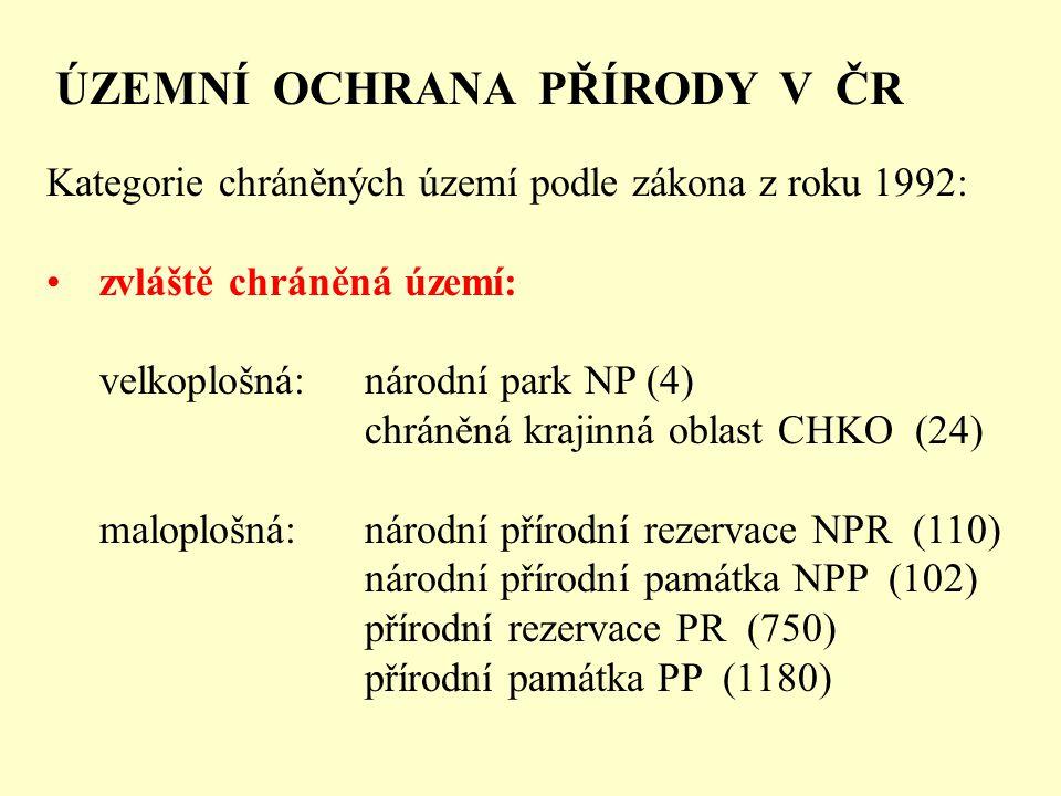 ÚZEMNÍ OCHRANA PŘÍRODY V ČR