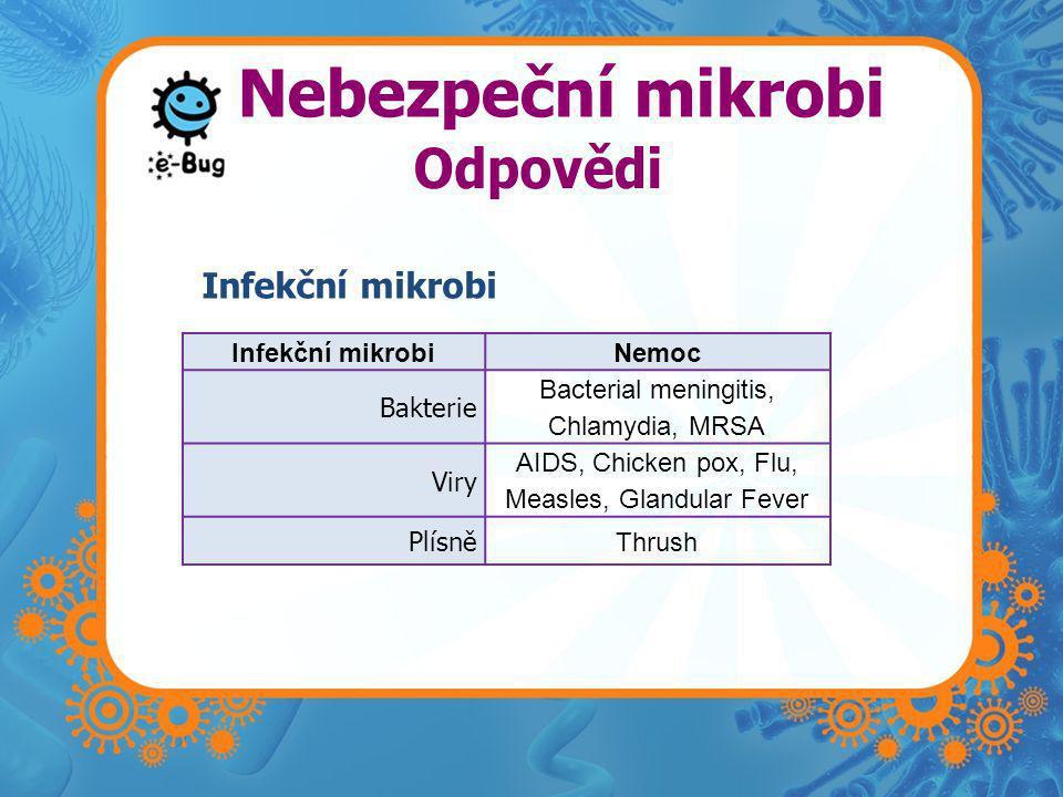 Nebezpeční mikrobi Infekční mikrobi Odpovědi Infekční mikrobi Nemoc