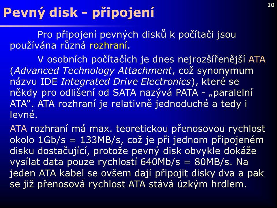 Pevný disk - připojení Pro připojení pevných disků k počítači jsou používána různá rozhraní.