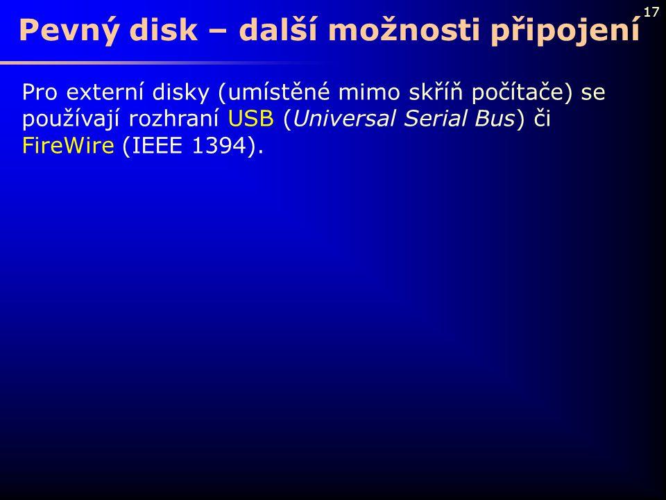 Pevný disk – další možnosti připojení