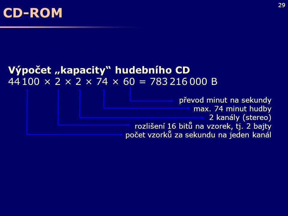 """CD-ROM Výpočet """"kapacity hudebního CD"""