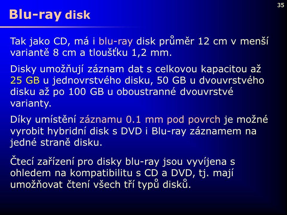 Blu-ray disk Tak jako CD, má i blu-ray disk průměr 12 cm v menší variantě 8 cm a tloušťku 1,2 mm.