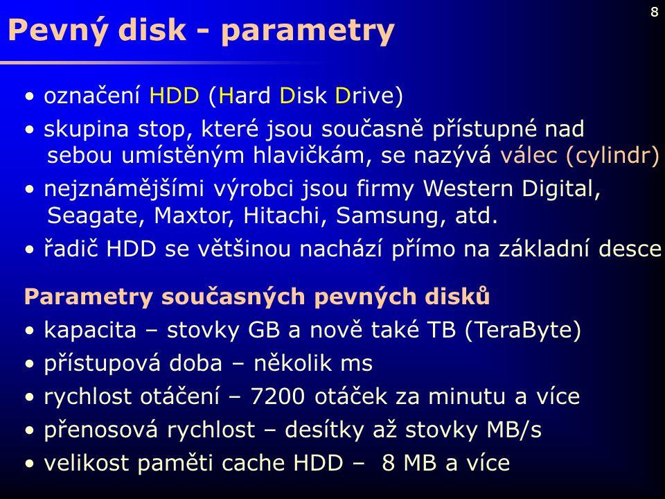 Pevný disk - parametry označení HDD (Hard Disk Drive)
