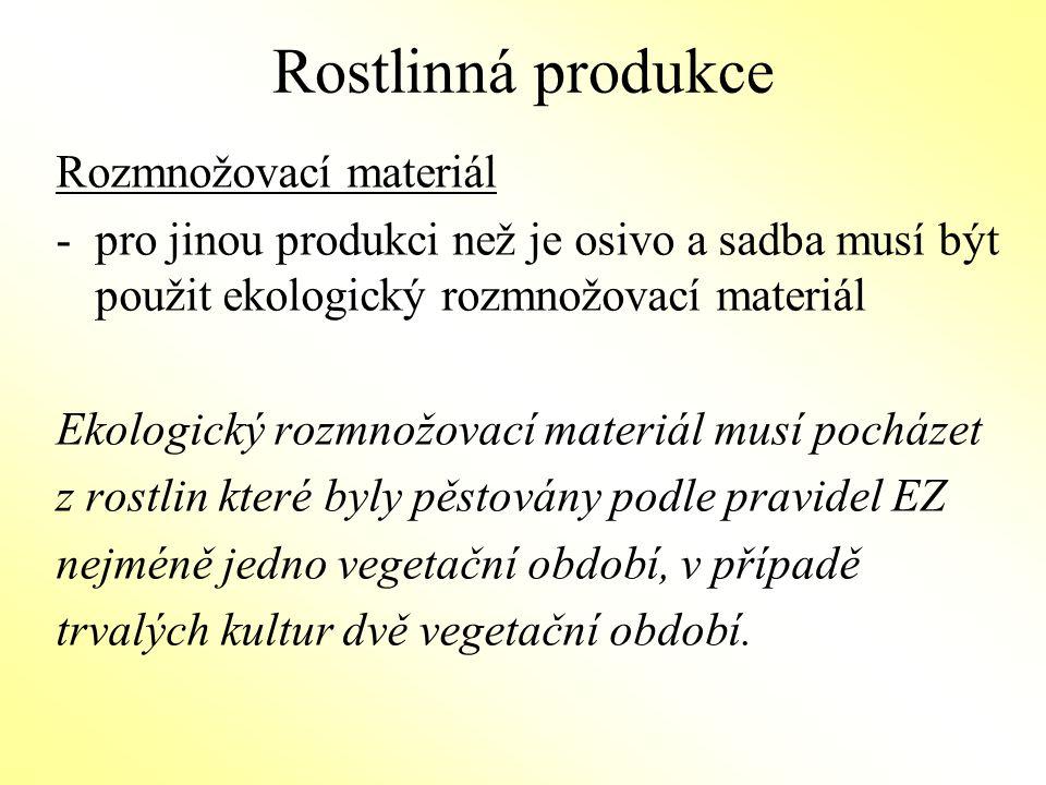 Rostlinná produkce Rozmnožovací materiál