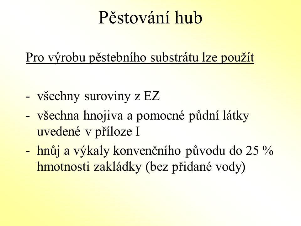 Pěstování hub Pro výrobu pěstebního substrátu lze použít