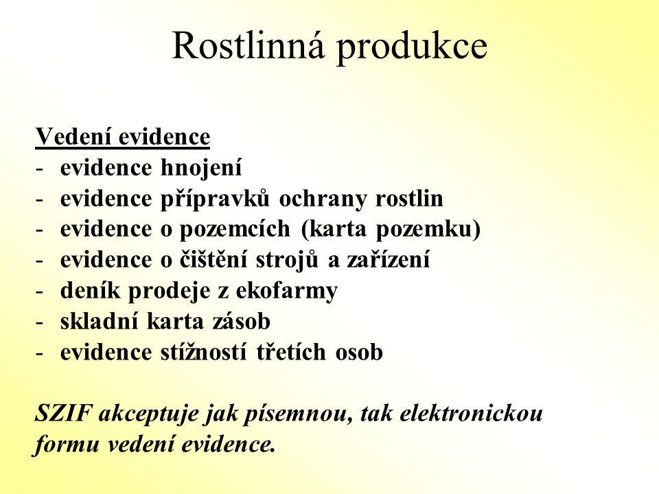 Rostlinná produkce Vedení evidence evidence hnojení