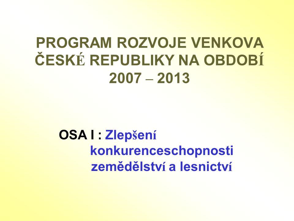 PROGRAM ROZVOJE VENKOVA ČESKÉ REPUBLIKY NA OBDOBÍ 2007 – 2013
