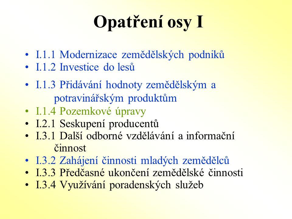 Opatření osy I I.1.1 Modernizace zemědělských podniků