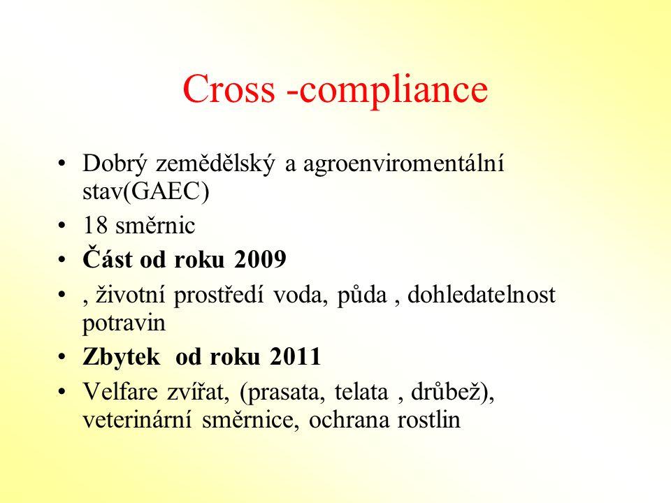 Cross -compliance Dobrý zemědělský a agroenviromentální stav(GAEC)
