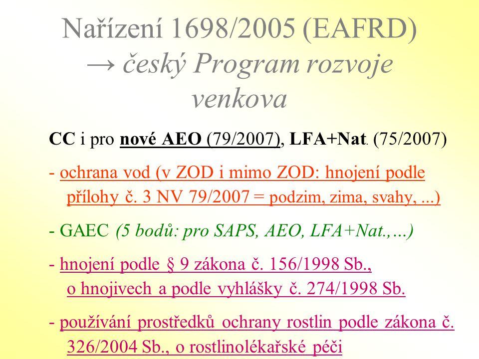 Nařízení 1698/2005 (EAFRD) → český Program rozvoje venkova