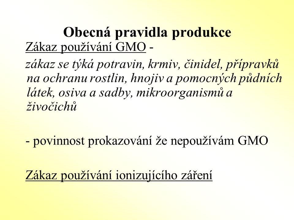 Obecná pravidla produkce