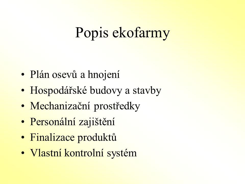 Popis ekofarmy Plán osevů a hnojení Hospodářské budovy a stavby