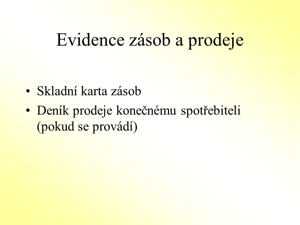 Evidence zásob a prodeje